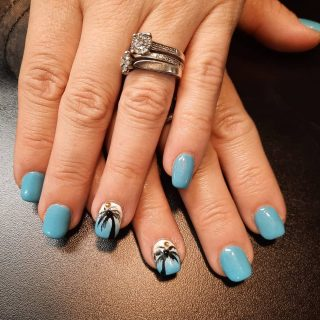 Full set of acrylics with baby blue DND gel and white chalk DND gel with black licorice DND gel palm trees.  Message me or text 321-848-6789 for an appointment   #acrylicnails #nailart #palmtreenailart #gelpolish #dndgel