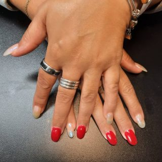 Acrylic overlay with gel polish Red and Chameleon.   Message me or text 321-848-6789 for an appointment   #nails #nailsbynadine #gelpolish #acrylicnails
