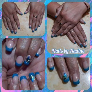Acrylic fill in $20 French tip gel polish with nail art $15  Message me or text 321-848-6789 for an appointment