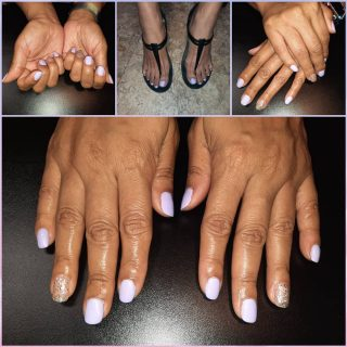 Lavender polish on toes and gel on hands  Message me or text 321-848-6789 for an appointment
