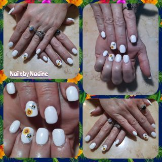 Full set acrylics $30 White gel polish $10 Nail art $5  Message me or text 321-848-6789 for an appointment
