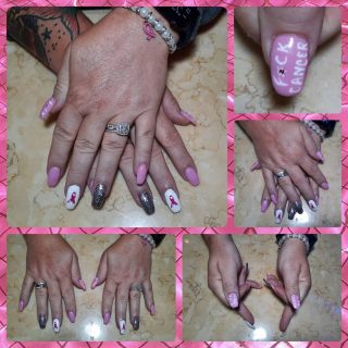 F*ck Cancer!  Full set acrylics $30 Gel polish $10 and Nail art $15  Message me or text 321-848-6789 for an appointment
