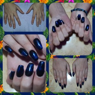 Black full set with glimmer powder and gel polish $45  Message me or text 321-848-6789 for an appointment