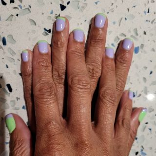 Lavender nailbed with lime green tip in gel on natural nails with the reverse on thumbs  Message me or text 321-848-6789 for an appointment for your Spring nails 💅   #NailsByNadine #SpringNails #NaturalNails #GelNailPolish #Cocoa #CocoaBeach #Rockledge #PortStJohn #CapeCanaveral