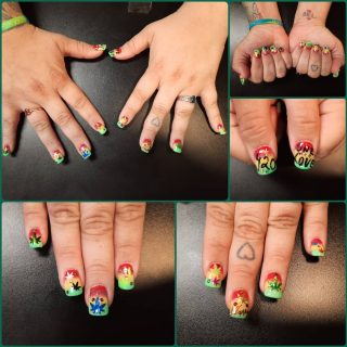 Full 420 set for 4/20! $30 full set $10 gel polish $1 - $5 per finger artwork   Message me or text 321-848-6789 for an appointment   #NailsByNadine #SpringNails #420 #420nails #AcrylicNails
