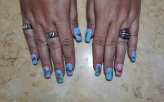 Fill in, Gel polish, Butterfly Nail waterside art $40  Message here or text me at 321-848-6789 to set your appointment