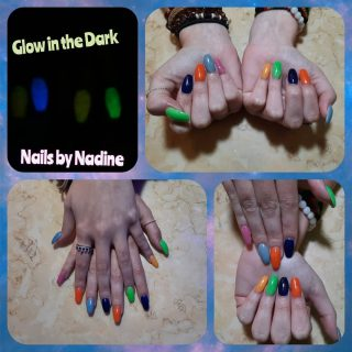Full set acrylics $30 Glow in the dark gel polish $10 Freaking out your SO, priceless!  Message me or text 321-848-6789 for an appointment
