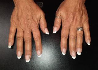 Full set acrylic with French tip $35  Message me or text 321-848-6789 for an appointment