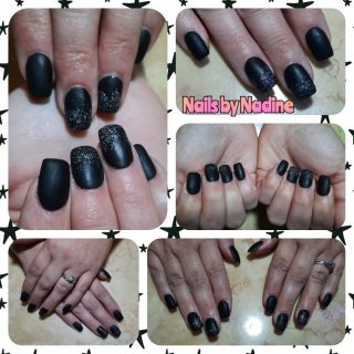 Acrylic full set with black gel polish and glitter ombre with matte top coat. $45  Message me or text 321-848-6789 for an appointment